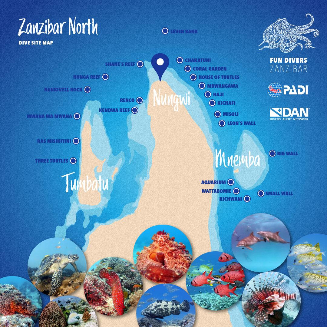 Best dive sites in Zanzibar – Top-notch dive site map with 22 of the best spots for scuba diving in Zanzibar North, including the famous spots in Mnemba (Kichwani, Wattabomie, Big Wall, Small Wall, Aquarium), Tumbatu (Mwana Wa Mwana, Ras Misikitini, Three Turtles), Nungwi (Shane´s Reef, Kichafi, Mbwangawa, Hunga Reef, Nankivell Rock) and Leven Bank